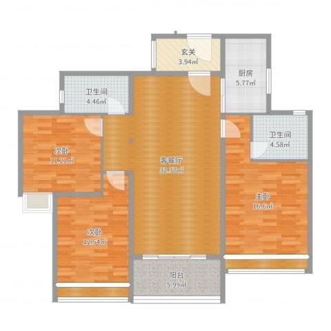 斗门西湖怡景园二期3室2厅2卫1厨125.00㎡户型图