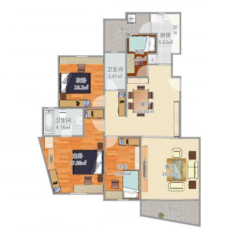 仁恒滨江园4室2厅2卫1厨128.00㎡户型图