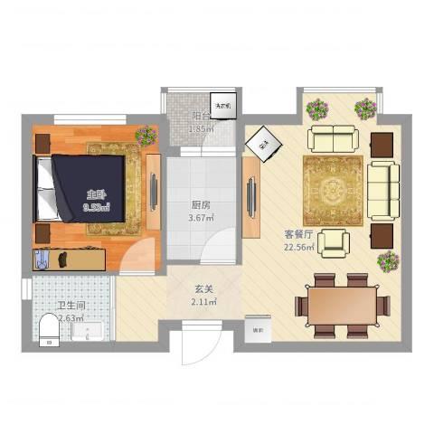 蓝澳岛1室2厅1卫1厨50.00㎡户型图