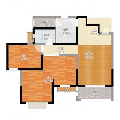 锦林山庄2室2厅1卫1厨92.00㎡户型图