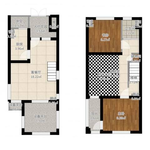 申亚花满庭2室2厅1卫1厨96.00㎡户型图
