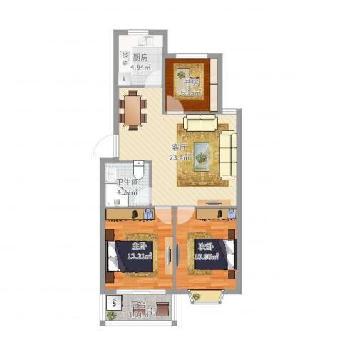 金丰阳光3室1厅1卫1厨83.00㎡户型图