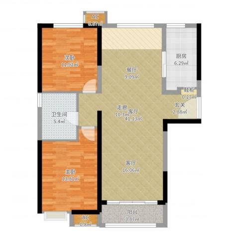 夏洛兹花园2室1厅1卫1厨105.00㎡户型图