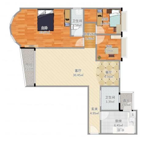 白云骏景家园3室1厅2卫1厨98.00㎡户型图
