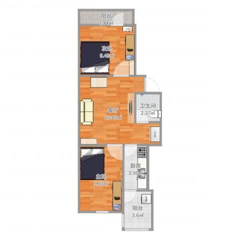 清华园2室1厅1卫1厨58.00㎡户型图