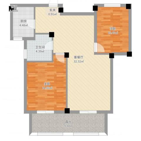 宏宇・龙湖湾042室2厅1卫1厨95.00㎡户型图