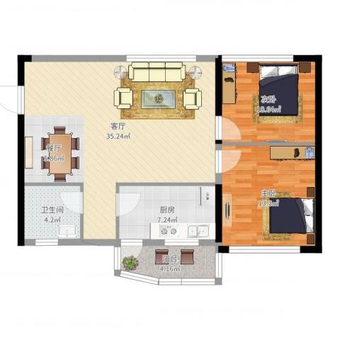 金碧雅苑2室1厅1卫1厨93.00㎡户型图
