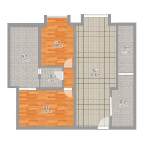 恒大华城天地苑2室1厅1卫1厨103.00㎡户型图