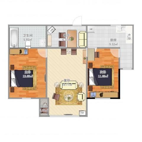 红星海世界观(别墅)2室2厅1卫1厨85.00㎡户型图