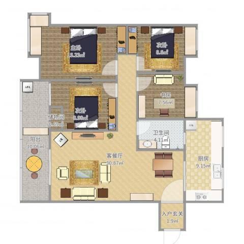 三室两厅两卫一厨两阳一书4室2厅1卫1厨121.00㎡户型图