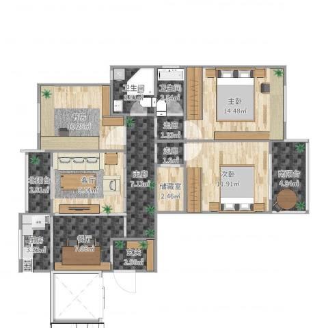鑫龙佳苑3室2厅2卫1厨106.00㎡户型图