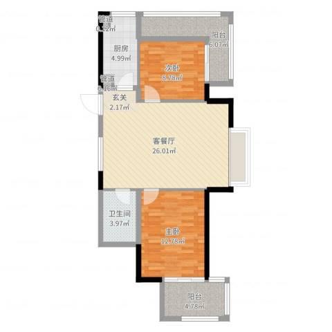 新时代城市家园2室2厅1卫1厨85.00㎡户型图