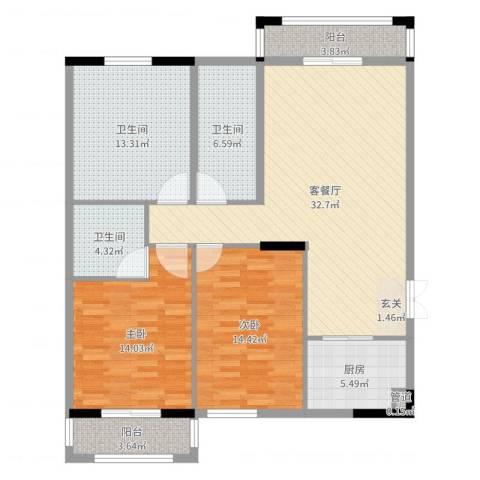 银城东方2室2厅3卫1厨123.00㎡户型图