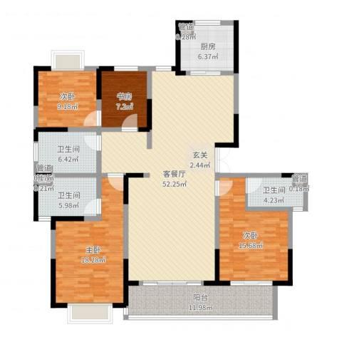 黄山湖公馆4室2厅3卫1厨173.00㎡户型图