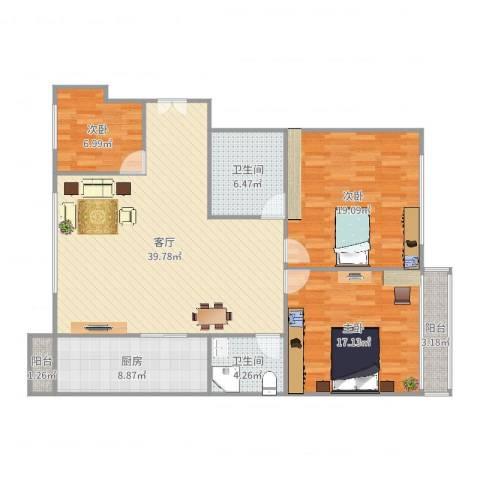 和泰花园3室1厅2卫1厨134.00㎡户型图