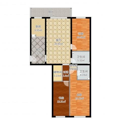 天通苑北一区3室2厅2卫1厨140.00㎡户型图
