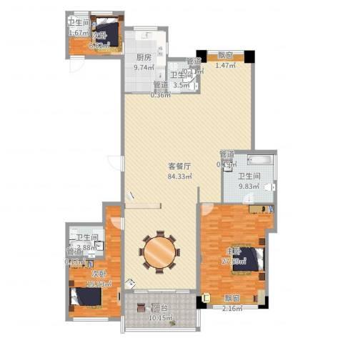 长沙开福万达广场3室2厅4卫1厨217.00㎡户型图