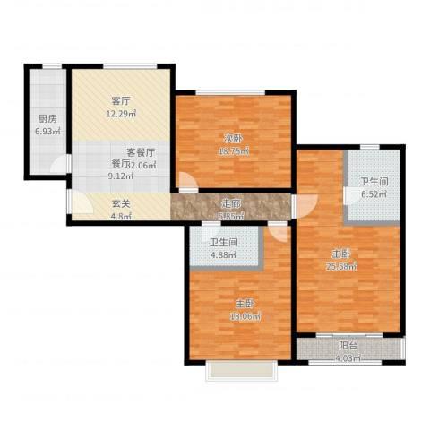 嘉都 TIME3室2厅2卫1厨146.00㎡户型图