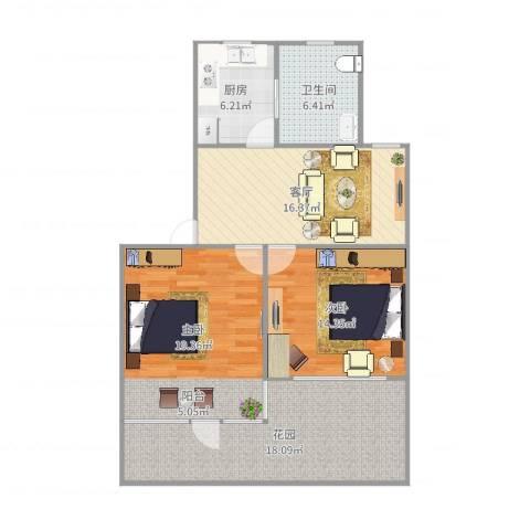 银桥花苑2室1厅1卫1厨101.00㎡户型图