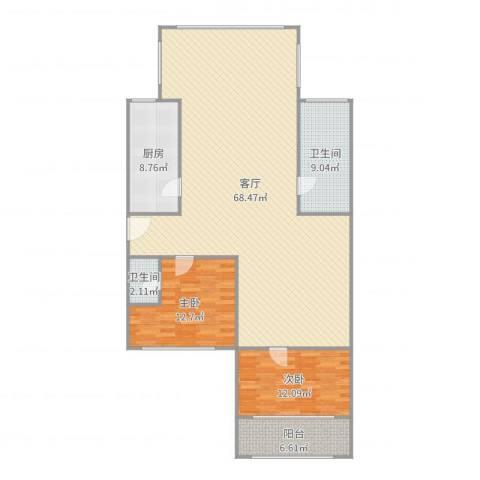 颛溪五村2室1厅2卫1厨150.00㎡户型图