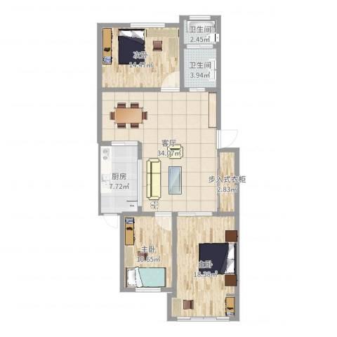 颛溪五村3室1厅2卫1厨118.00㎡户型图