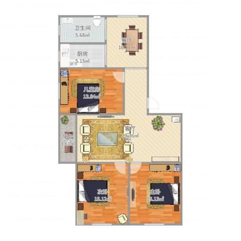 颛溪五村3室2厅1卫1厨122.00㎡户型图