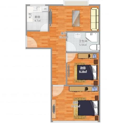 紫堤坊2室1厅1卫1厨71.00㎡户型图