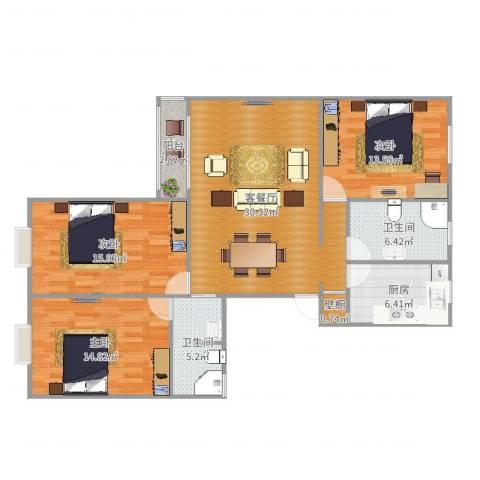 紫堤坊3室2厅2卫1厨120.00㎡户型图