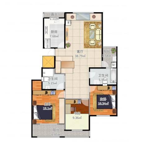 金象泰吉祥家园3室1厅2卫1厨129.00㎡户型图