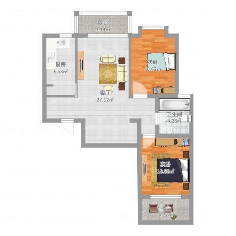 大德世家2室1厅1卫1厨84.00㎡户型图