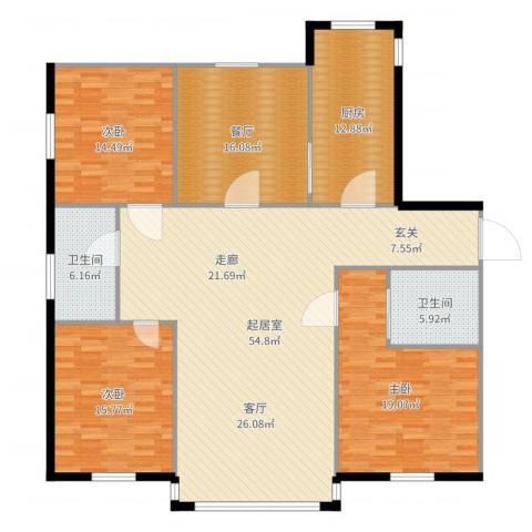 紫晶南园二期3室1厅2卫1厨181.00㎡户型图