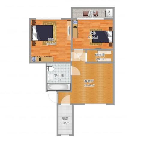 紫藤一村2室2厅1卫1厨78.00㎡户型图