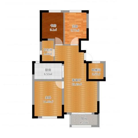 保利拉菲公馆3室3厅1卫1厨99.00㎡户型图
