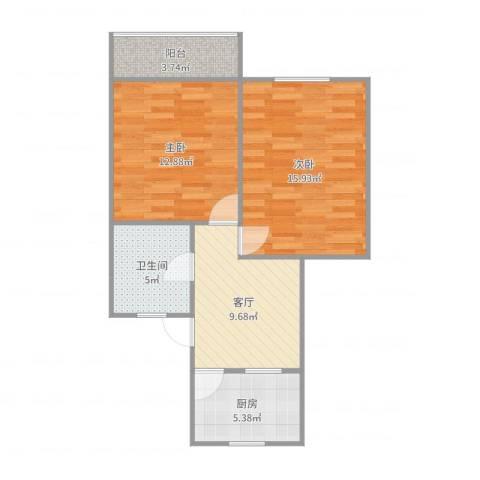 紫藤一村2室1厅1卫1厨66.00㎡户型图