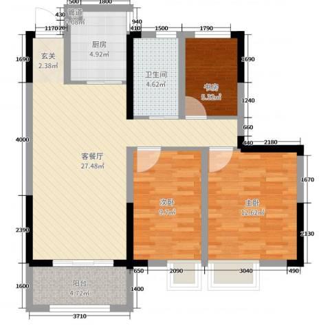 金鹏・爱丽舍宫3室2厅1卫1厨88.00㎡户型图