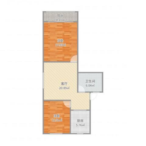 紫藤一村2室1厅1卫1厨83.00㎡户型图