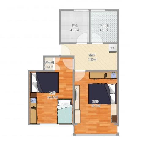 紫藤一村2室1厅1卫1厨59.00㎡户型图