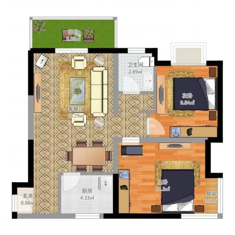 学林雅苑2室2厅1卫1厨90.00㎡户型图