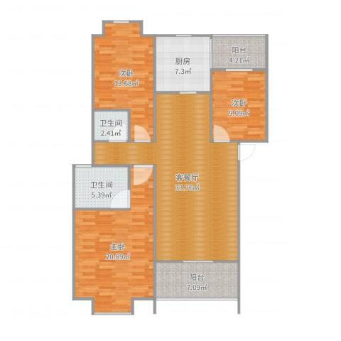 幸福里3室2厅2卫1厨130.00㎡户型图