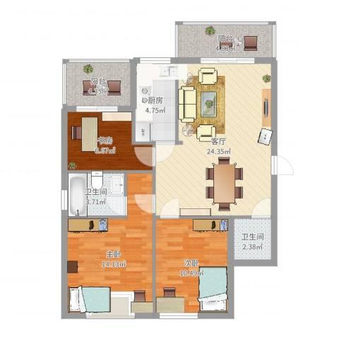 万豪尊品3室1厅2卫1厨116.00㎡户型图