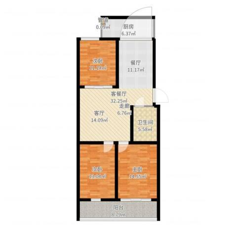 科苑小区3室2厅1卫1厨115.00㎡户型图
