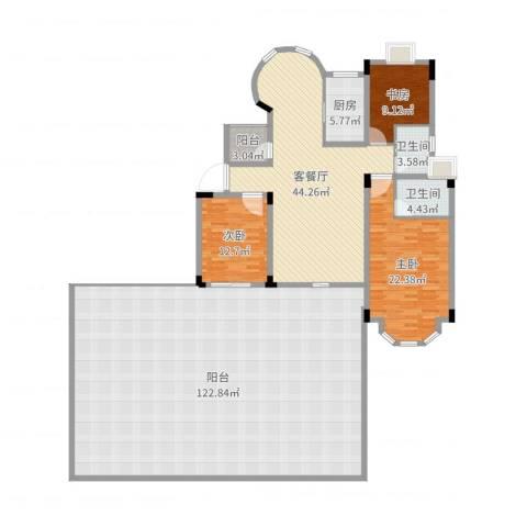 东方海德堡3室2厅2卫1厨285.00㎡户型图