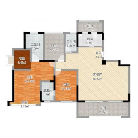 卓锦兰香2室2厅3卫1厨163.00㎡户型图