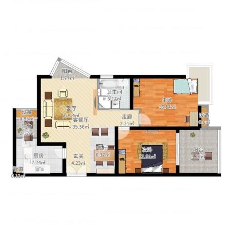 长江之家2室2厅1卫1厨115.00㎡户型图