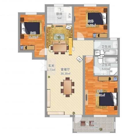 齐云雅苑3室2厅2卫1厨125.00㎡户型图