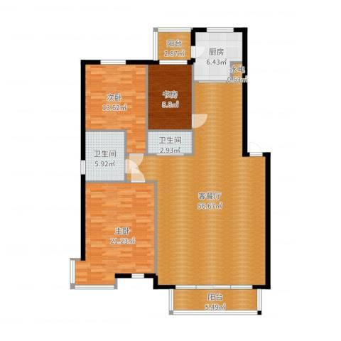 北港新城3室2厅2卫1厨156.00㎡户型图
