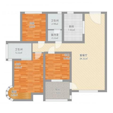 怡兰苑3室4厅2卫1厨132.00㎡户型图