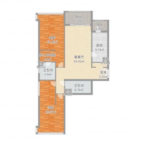 翠湖天地嘉苑2室2厅2卫1厨163.00㎡户型图