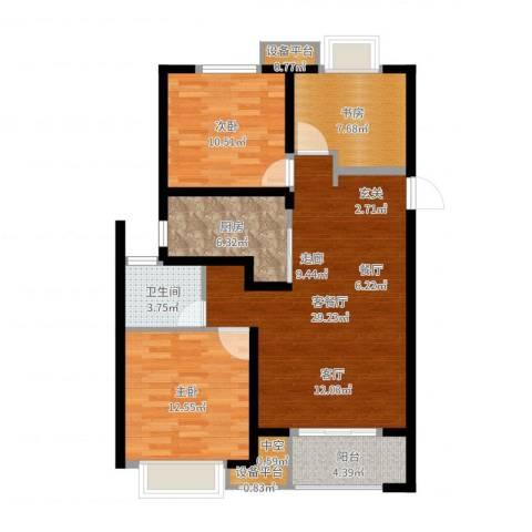 万科金域传奇3室2厅1卫1厨96.00㎡户型图