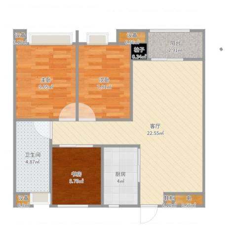 万科金域传奇A户型3室1厅1卫1厨74.00㎡户型图